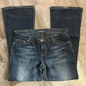 Dark Wash AE Flares With Western Inspired Pockets